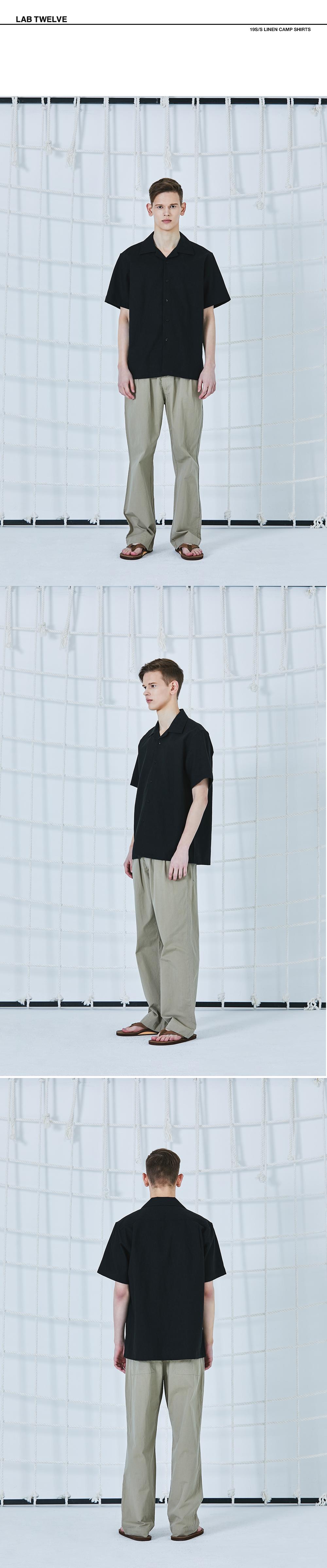 랩12(LAB12) 19S/S 린넨 캠프 셔츠 (블랙)