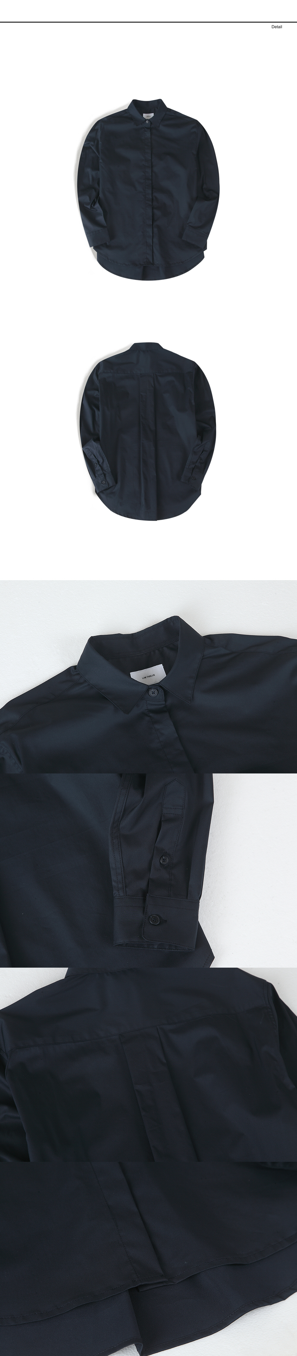 랩12(LAB12) 19S/S W 히든버튼 셋업 셔츠 (네이비)